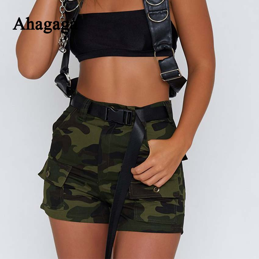 Ahagaga 2018 Summer Camouflage Straight   Shorts   Women Fashion Button Fly High waist Sexy   Short   Women Trousers For Female Medias