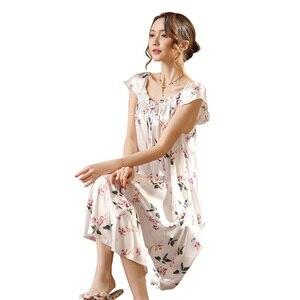 Image 5 - Ladies Nightgown Sleepwear Fashion Small Flower Women Nightgowns Printed,Hot Sale Plus Size 4XL Silk Nightwear For Summer,Autumn