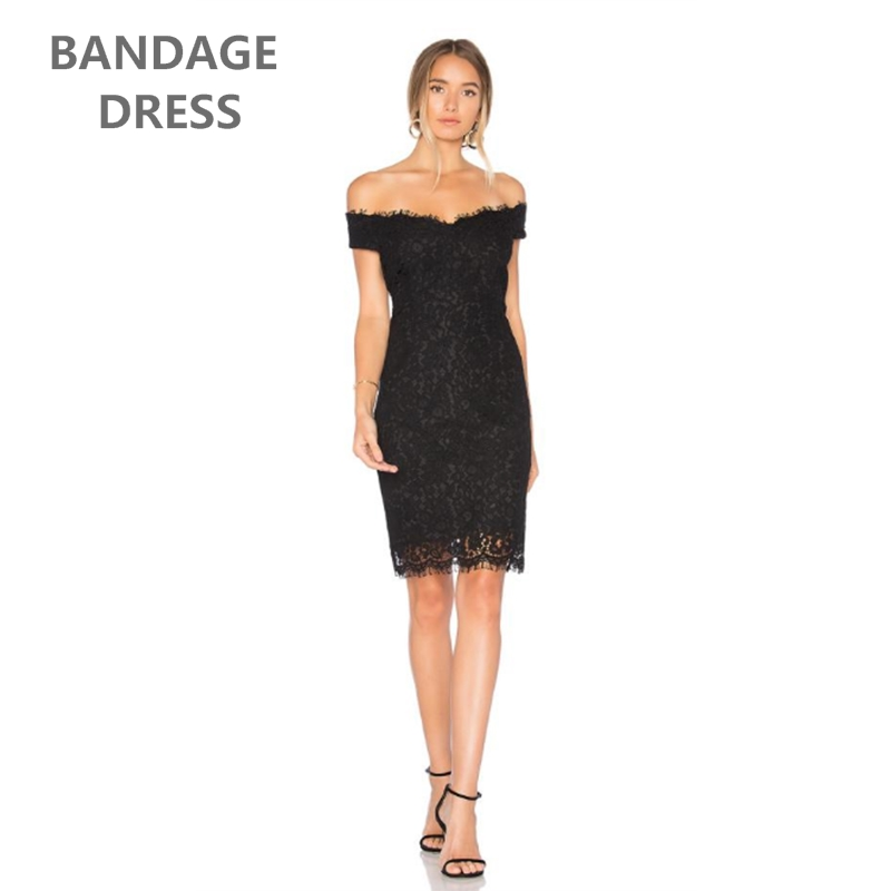 2017 The Newest Autumn Bandage Bress Women Celebrate Party Sexy Off The Shoulder Slash Neck Knee- Length Lace Dress Clubwear