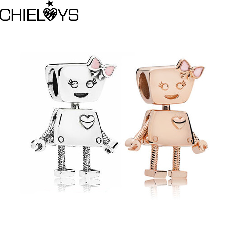 CHIELOYS 2Pcs/Lot 2018 New Arrival Rose Gold Bella Bot Charm Assorted DIY Jewelry Fit Brand Snake Chain Bracelet Charm BE005