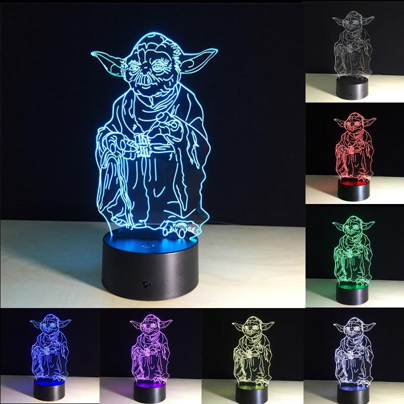 3D Звездные войны Мастер Йода ночные светильники LED USB настольная лампа визуальные огни 7 видов цветов Изменение Настольная лампа креативное украшение подарок для малыша