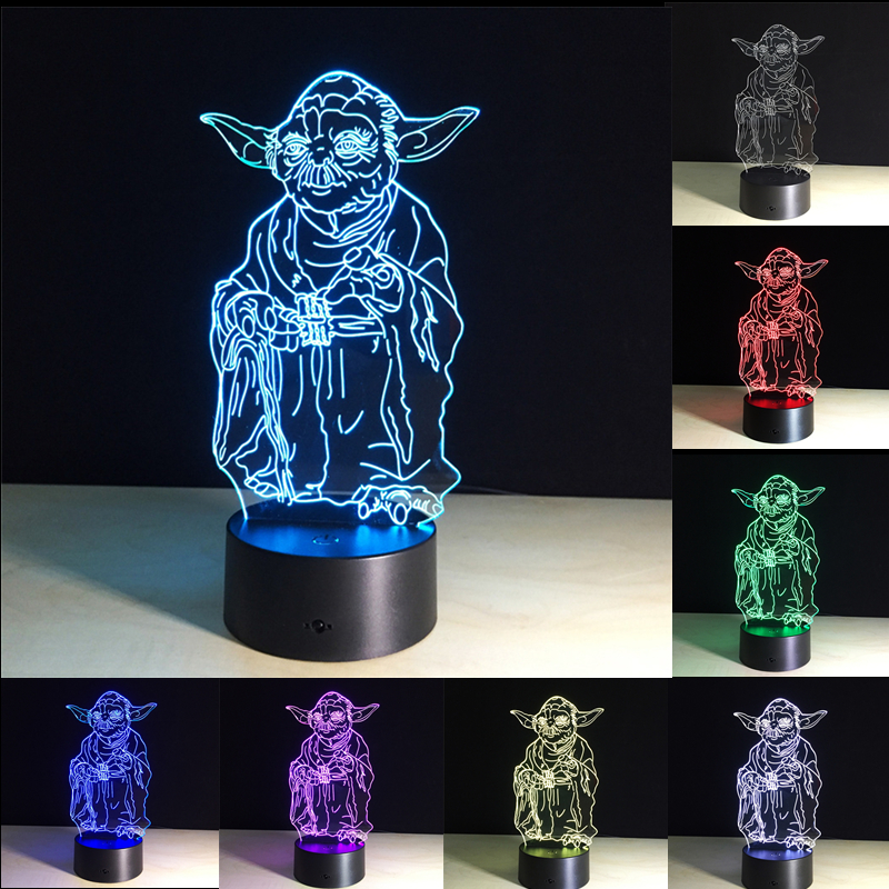 3D Star Wars Master Yoda Night Lights LED USB Table Lamp Visual Lights 7 Colors Changing Desk Lamp Creative Decoration Kid Gift
