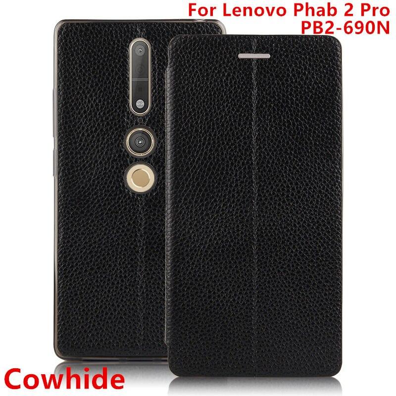 imágenes para Caso de cuero de Vaca Para Lenovo móvil Phab 2 PB2-690N Phab2 Pro cubierta Protectora cáscara Del Teléfono de TPU 6.4 pulgadas Protector de Cuero Genuino caso