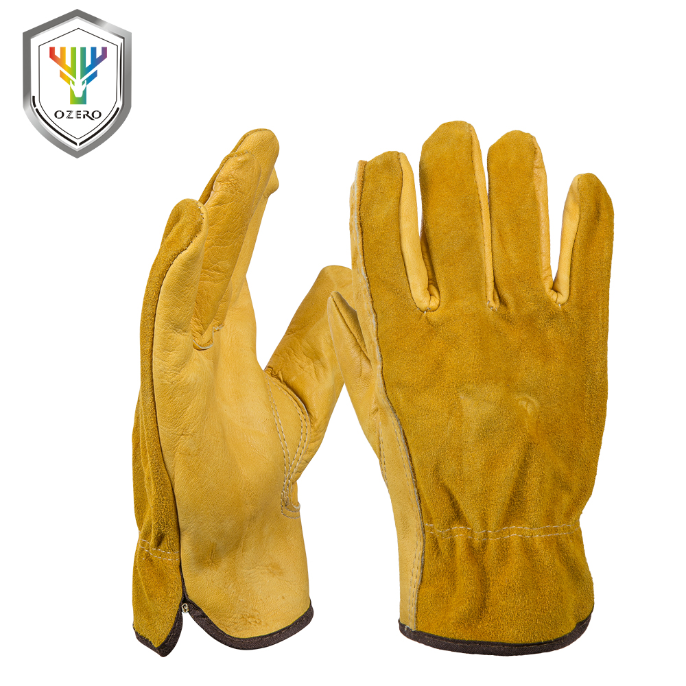 Mens yellow gloves - Ozero New Men S Work Gloves Cowhide Driver Security Protection Wear Safety Workers Welding Moto Gloves For
