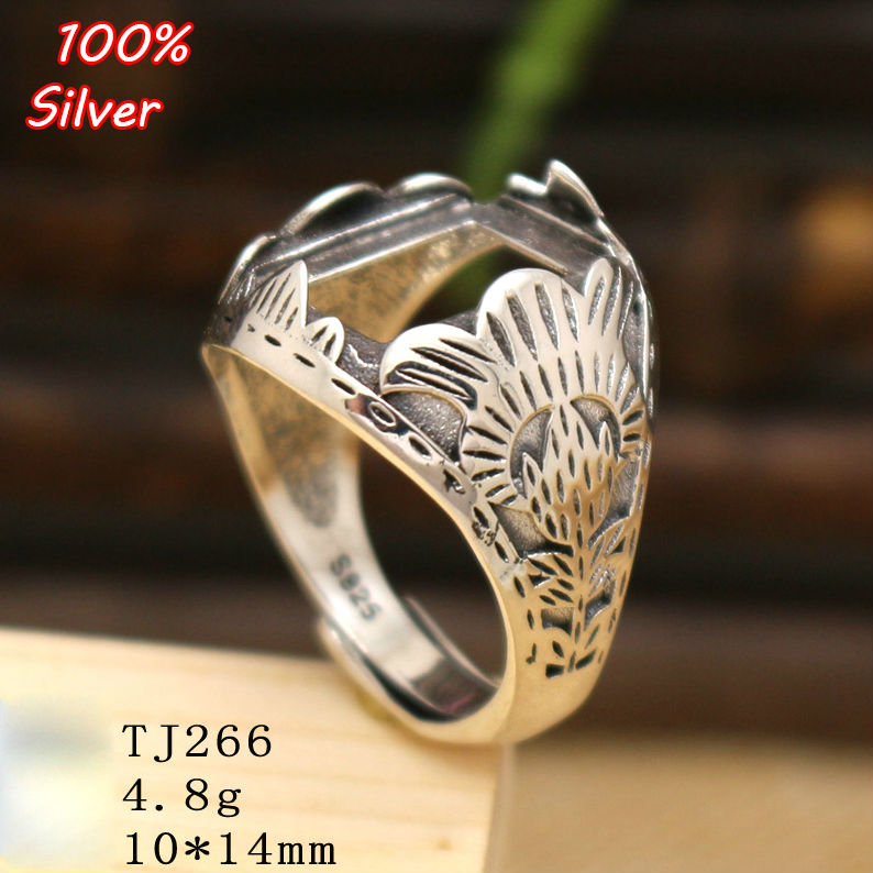 925 Sterling Silver Adjustable Ring Blanks Base DIY Handmade Blanks 10*14MM Cabochon Settings For Women Jewelry Findings