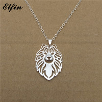 Elfin Wholesale 2017 Trendy Samoyed Necklace Gold Color Silver Color Dog Jewellery Pendant Necklace Women Steampunk