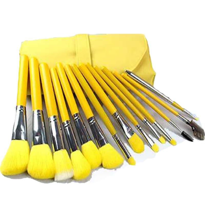 23 pcs professional makeup brushes Cosmetic Facial Make up Brush Kit Makeup Brushes Set with yellow Leather Case organizer