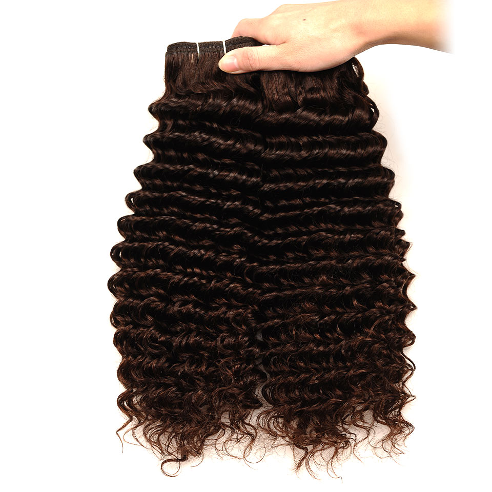 Pinshair Deep Wave Indian Hair 3 Bundles With Closure Brown Color 4 Non Remy 100 Thick Human Hair Weft Hair Bundles With Closure (60)