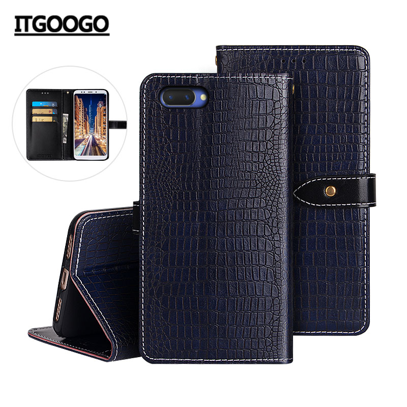 OPPO A3S Case Cover Luxury Leather Flip Case For OPPO A5 Protective Phone Case Back Cover