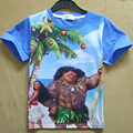 2017 Nuevos Muchachos Patrón de Caracteres Camisetas Océano Romance Moana Tee Tops Bobo Choses Ropa de Bebé Infant Toddler Niños Ropa