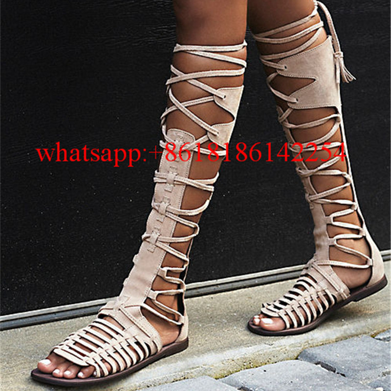 Hot Sale Knee High Boots Women Summer Sandal Flat Boots Cross-strappy Lace-up and Zip Botas Zapatos Mujer Casual Sandals Boots