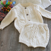 Sodawn Autumn Winter New Children Clothing Boys Girls Baby Knit Sweater Cardigan + Shorts Suit Baby Clothes Suit(China)