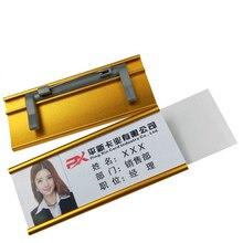 200 PCS BLANK reusable ชื่อผู้ถือ Badge PIN Staff ชื่อ: อลูมิเนียมชื่อผู้ถือป้าย