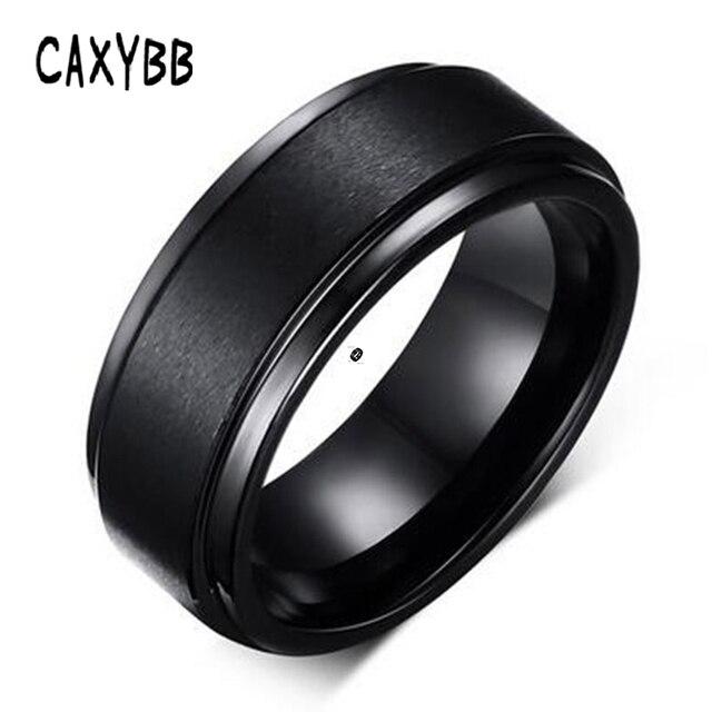 Caxybb Mens Anéis 8 MM Carboneto de Tungstênio Anel de Noivado Wedding Band Prata Preto Puro para Homens Escovado Centro de Companheiro Jóias