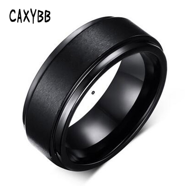 Caxybb Mens Rings 8 MM Wedding Band Black Silver Pure Carbide Tungsten Engagemen