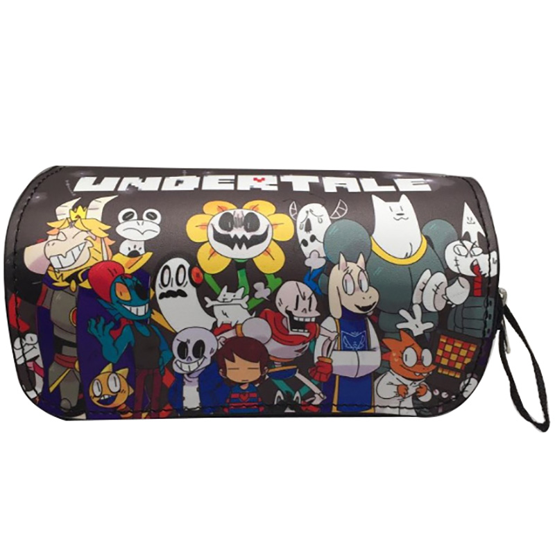 Hot New Anime Undertale Pencil Bags Leather Pen Holder Purse Students School Supply Stationery Bag Double Zipper Wallets Gifts