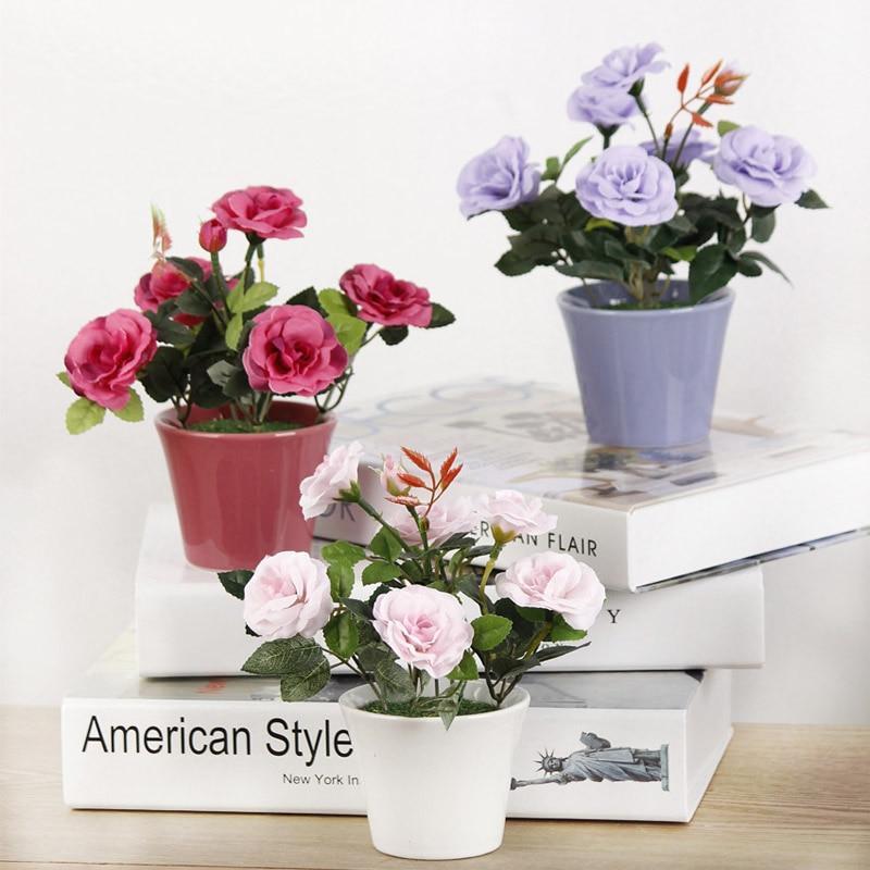 Imgenes de wholesale silk flowers new york 1pc artificial flowers bonsai rose rosaceae silk flower potted flowerpot wedding home decorative mightylinksfo