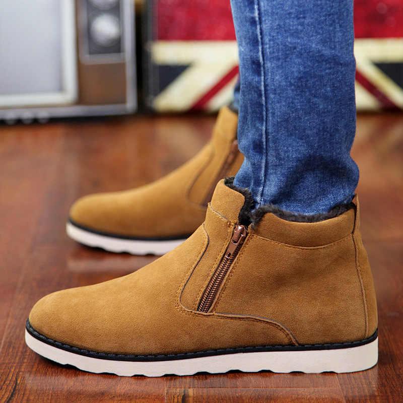 REETENE botas de invierno para hombres 2018 botas de nieve cálidas para hombres botas de nieve casuales para hombres zapatos de invierno con cremallera de felpa para hombres zapatos de piel para hombre