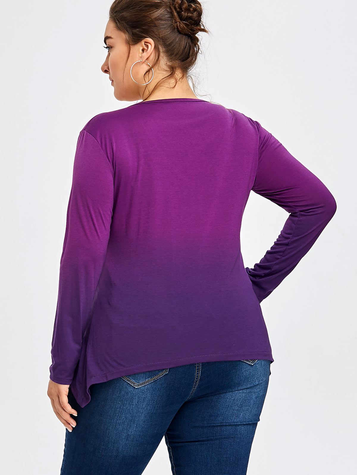 AZULINA Plus Size Caged Cutout Ombre T-Shirt Women Casual V-Neck Criss-Cross Long Sleeves T Shirts Purple Ombre Ladies Tops 5XL