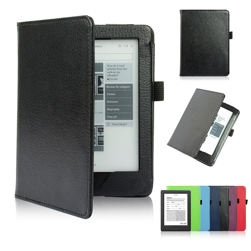 Solque PU Leather Slim ebook Case For Kobo Glo HD Auto Wake Sleep Magnet Flip Cover Cases For Kobo Glo e Reader Litchi Lines smart cover case for kobo aura one 7 8 inch ereader ebook pu leather pocket sleeve with magnetic auto sleep