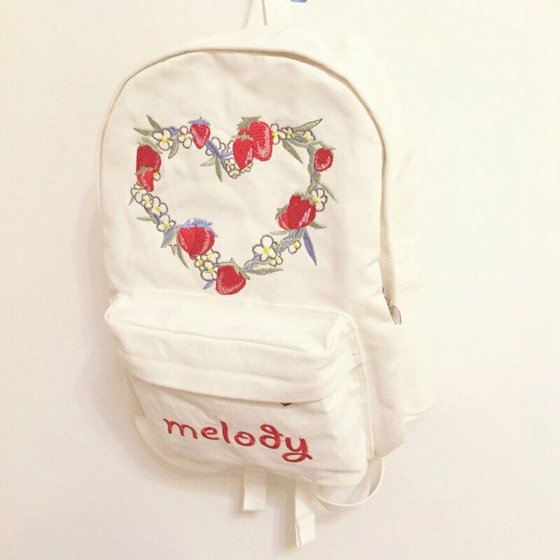 Original design japanese soft sister strawberry embroidery backpack lovely cute student school bag high quality book