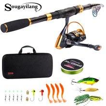 Sougayilang 1.8 2.4m Canna Da Pesca Telescopica Con Bobine di Filatura Combo Portatile Da Viaggio Polo di Richiamo Linea di Set di Borsa Kit attrezzatura da pesca