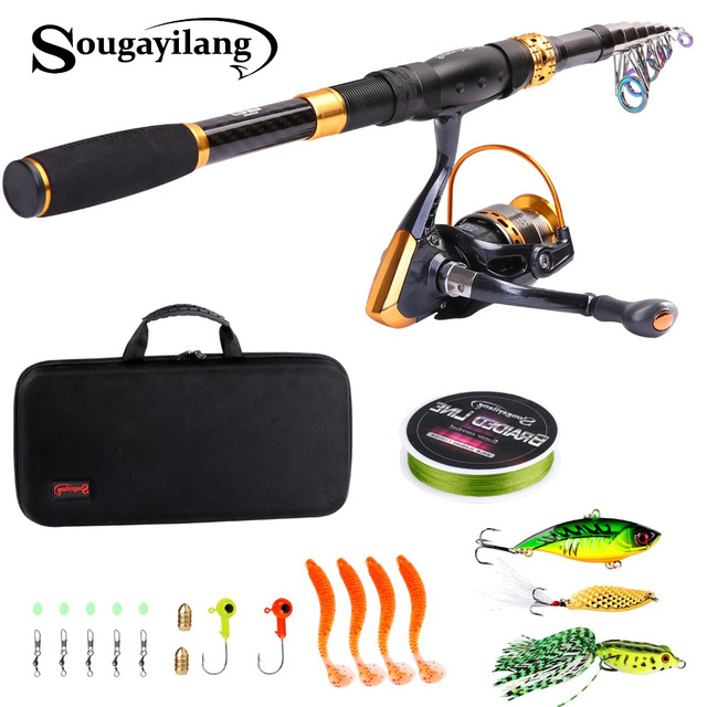 Sougayilang 1.8 2.4m Telescopic Fishing Rod With Spinning Reels Combo Portable Travel Pole Lure Line Bag Sets Kit Fishing Tackle