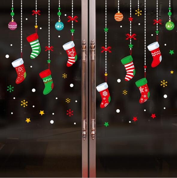 new year 2019 merry christmas wall sticker home shop windows decals decor christmas party decorations windows wall sticker6257 in wall stickers from home