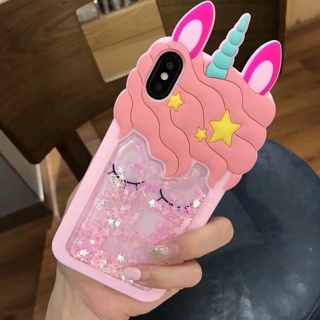 Funda de goma de unicornio lindo con brillo 3D para iPhone XS Max XR funda de silicona suave de caballo de dibujos animados trasera para iPhone 5 5S X 8 7 6 6 S