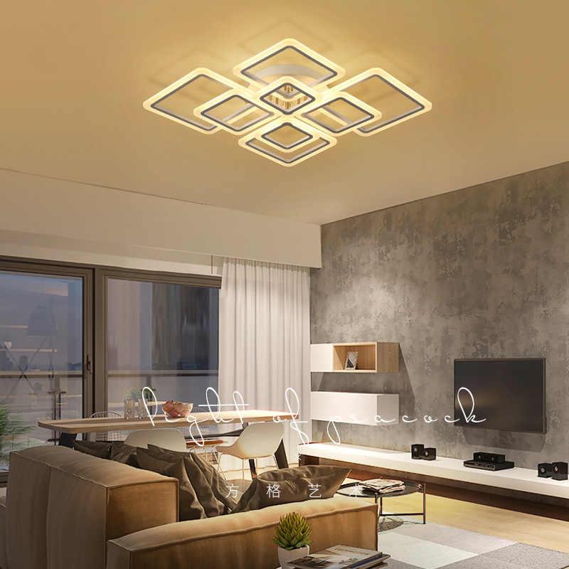 Lustre led intérieur en fer, nouveaux lustres led modernes pour salon chambre à manger corps en fer acrylique lustre domestique luminaires
