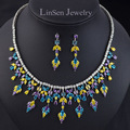 New design luxury multicolor Cubic Zirconia wedding bridal jewelry sets,AAA CZ necklace earring set for bride accessory