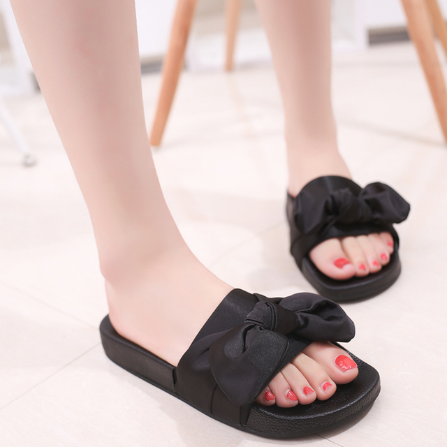 7f1cb866774e6 Silk Bow Slides Women Summer Beach Shoes Woman No Fur Slippers Flat Heels Flip  Flops Ladies Bohemia Sandals PA912569