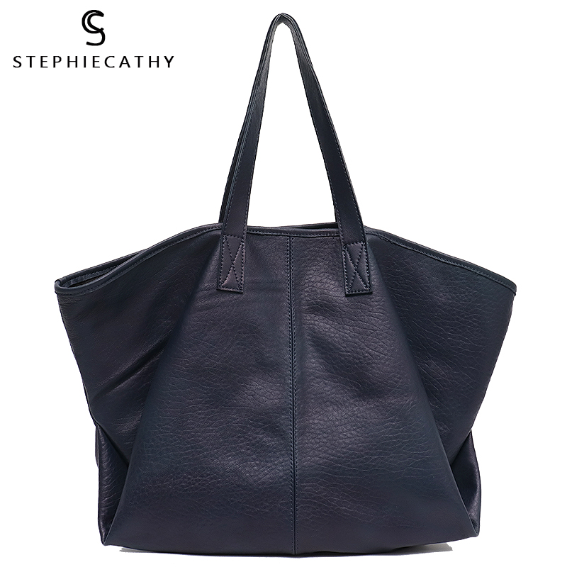 SC Vintage Genuine Leather Women Totes Large Capacity Soft Shoulder Bags Big Cow Leather Handbags Ladies