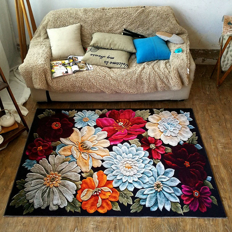 3D Blooming Peony Flowers Pastoral Country Floral Soft Flannel Floor Foot Mat Bathroom Parlor Living Room Decor Carpet Area Rug