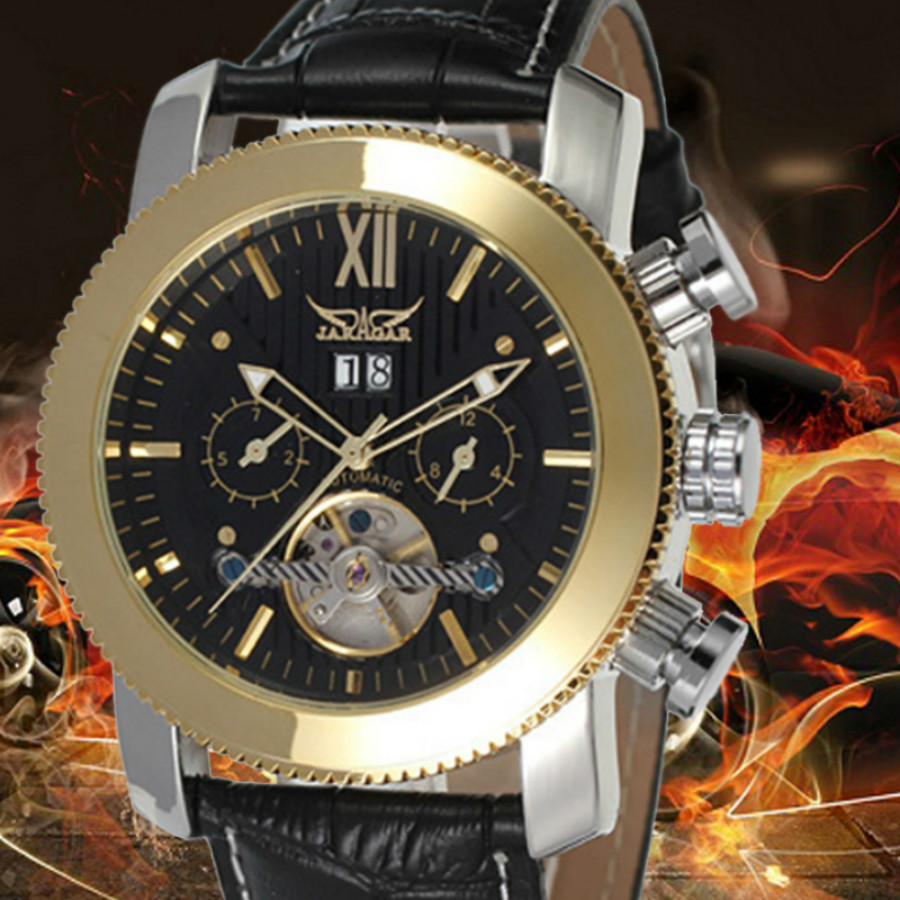 New Original JARAGAR Watch Automatic Mechanical Watches Leather Tourbillon Flywheel Mens Watch Box reloj hombre jaragar fashion watch mens moonphase flywheel auto mechanical stell wristwatch gift box free ship