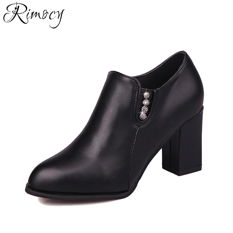 Rimocy pointed toe high square heels women autumn ankle boots fashion ladies solid black short boots shoes woman casual booties