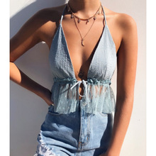 Women Sleeveless Crop Top Backless Vest V neck Halter Short Bralette Bustier Mesh Ruffles Shirts For Girls 2019 Camisole top