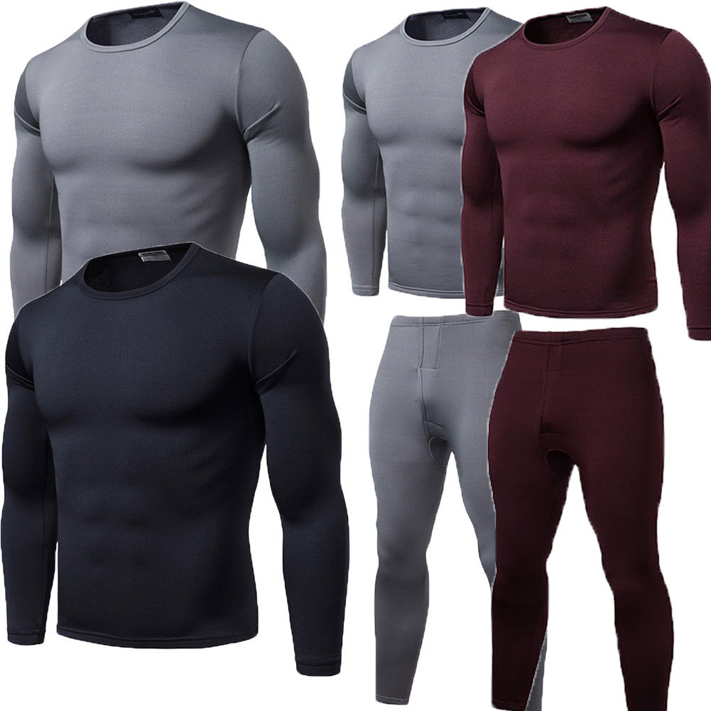 2019 Winter Warm 2Pcs  Men Underwear Long Johns Thermal Underwear Tops Bottoms Trousers Plus Size L-2XL(China)