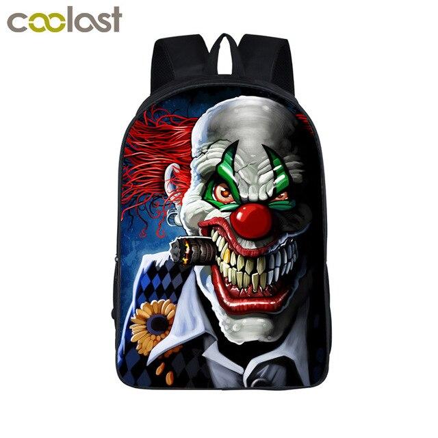 Cool Crazy Evil Clown Backpack For Teenager Women Men Rucksack