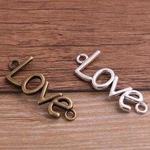 Love-Jewelry Connectors Bracele Metal-Alloy Letter-10PCS 15--40mm Two-Color