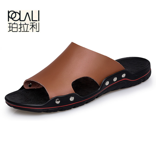 984e434b3 POLALI Brand New Slippers High Quality Handmade Cow Genuine Leather Summer  Shoes Fashion Men Beach Sandals Flip Flops