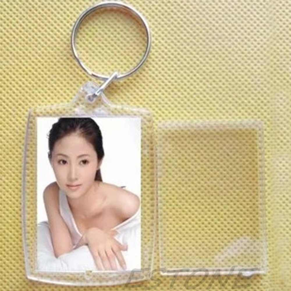Wholesale New Hot Personalise Clear Acrylic Plastic Blank Keyrings Photo Insert Key Rings 40*27mm