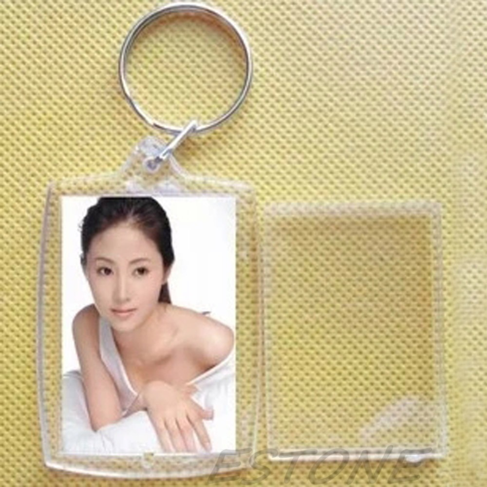 10 BLUE CASED CLEAR KEYRINGS 45mm X 35mm PHOTO COVERED