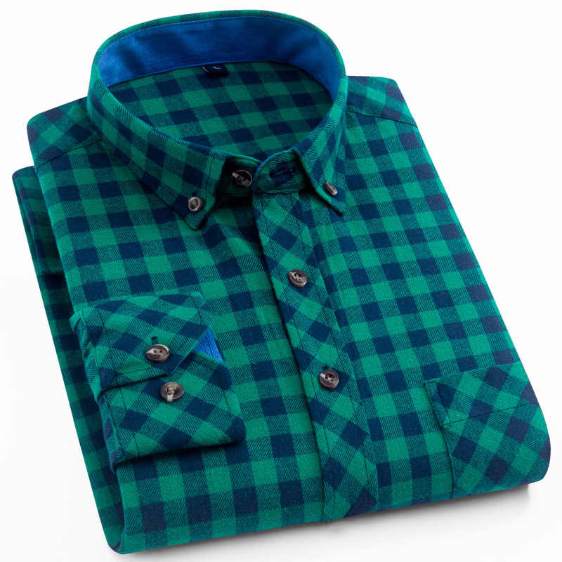 Men's Stylish Shirt Flannel Long Sleeve Green Plaid Dress Shirts Chest Pocket Standard-fit Brushed Checkered Cotton Male Shirts