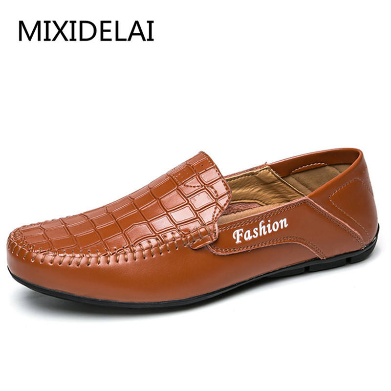 MIXIDELAI Fashion Casual Driving Shoes Genuine Leather Loafers Men Shoes 2018 New Men Loafers Luxury Flats Shoes Men Chaussure farvarwo genuine leather alligator crocodile shoes luxury men brand new fashion driving shoes men s casual flats slip on loafers