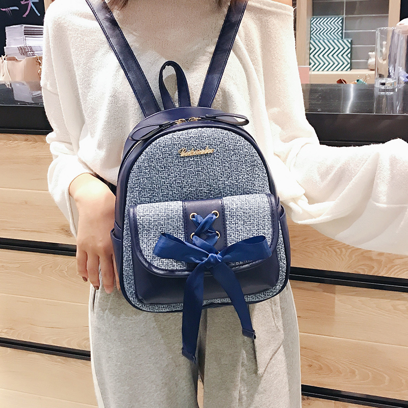 Beibaobao Fashion Simple Preppy Style Small Backpack for Teenage Girl Casual Schoolbag Silk Bow Design Shoulder Bag 5