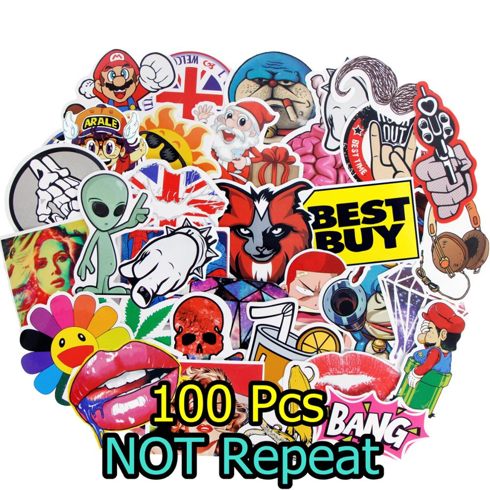 100 Pcs/Lot Waterproof Colorful Stickers Skateboard Luggage Vinyl Decals Laptop Phone Car Motocycle Bike JDM DIY Sticker Toy M4 все цены
