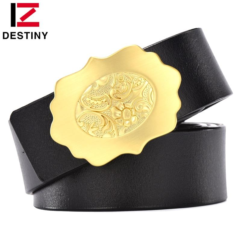 DESTINO cinturón de cuero de alta calidad para hombre cinturones anchos de moda para vaqueros correa de boda para hombre Flor de oro Hebilla de cobre marrón