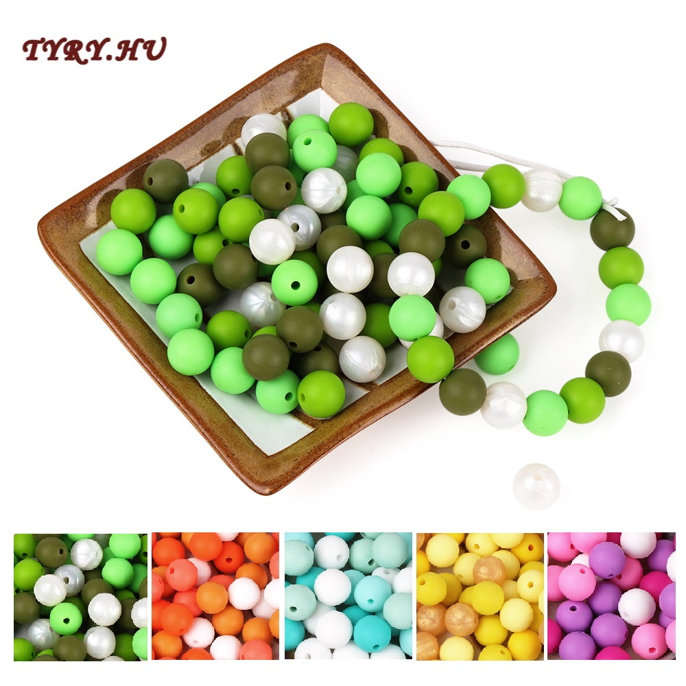 TYRY.HU 20pcs Silicone Beads Baby Teething Beads 12mm Safe Food Grade Nursing Chewing Silicone Round Beads For Necklace Making