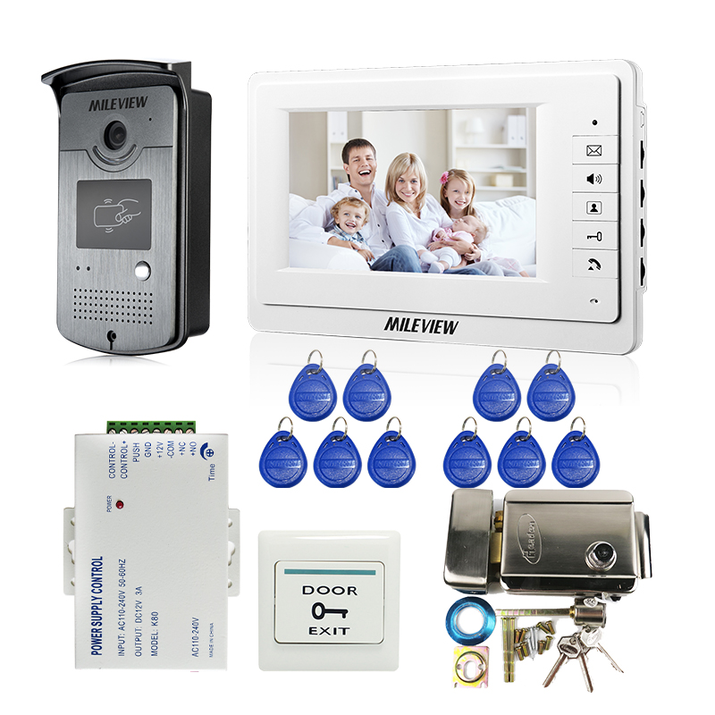 Wired 7 LCD Screen Video Door Phone Intercom System White Monitor + RFID Access Doorbell Camera +Mechanical Lock FREE SHIPPING wired video door phone intercom doorbell system 7 tft lcd monitor screen with ir coms outdoor camera video door bell